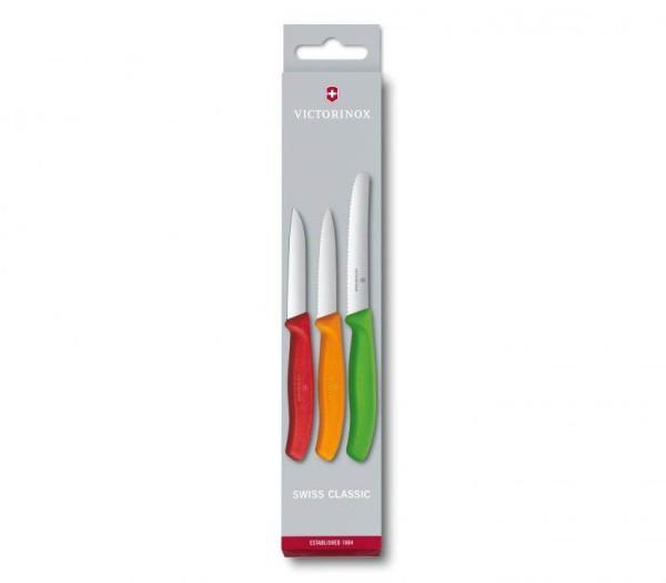 Victorinox Classic Gemüsemesser-Set, 3-Teilig, hell grün orange rot, 6.7116.32